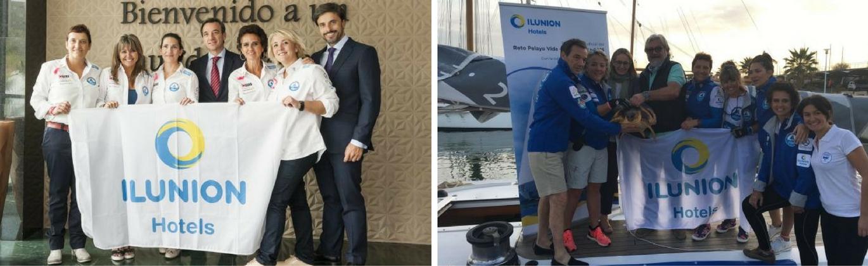 Montaje de dos imagenes con participantes del Reto Pelayo Vida y el director general de ILUNION Hotels