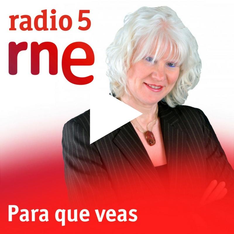 Logotipo del programa donde se ve a la periodista Anna Hernández, con un triángulo en el medio que enlaza al audio del programa