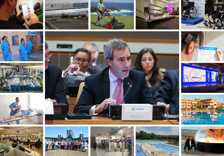 PORTADA 2 Alejandro Oñoro durante su intervención en la sede de la ONU en Nueva York, junto a un collage de fotos de las principales lineas de negocio de ILUNION