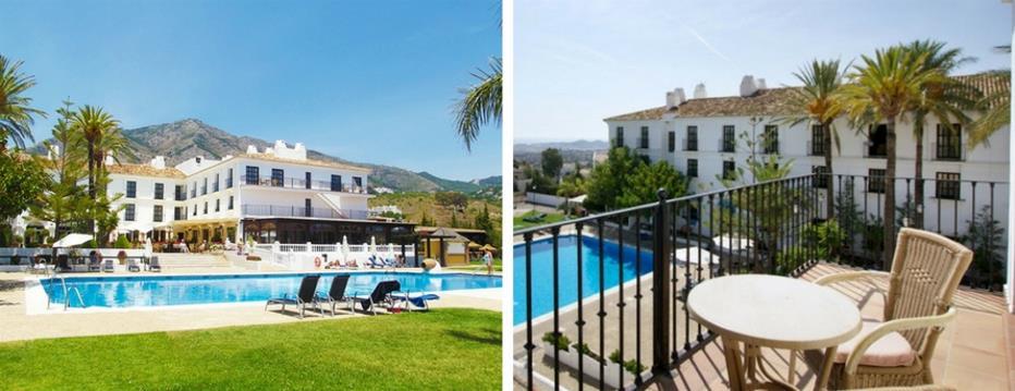 Collage de la entrada y una terraza del hotel de Mijas