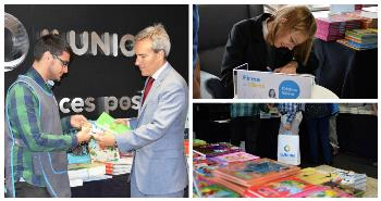 Collage de fotos con Alejandro Oñoro en el estand de ILUNION Retail en Torre ILUNION y Cristina Valero durante su firma de libros